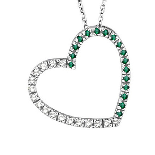 Diamond & Emerald Heart Pendant Necklace 14k White Gold (0.40ct)