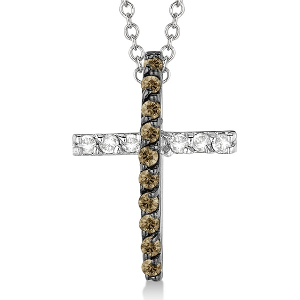 Champagne & White Diamond Cross Pendant Necklace 14k White Gold (0.25ct)