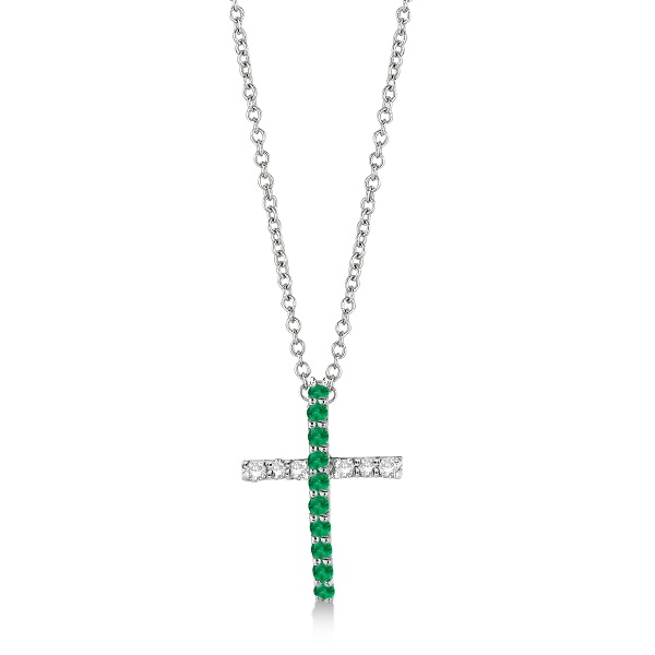 Emerald & Diamond Cross Pendant Necklace 14k White Gold (0.25ct)