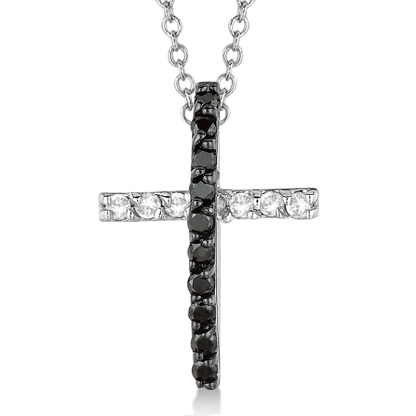 Black & White Diamond Cross Pendant Necklace 14k White Gold (0.25ct)