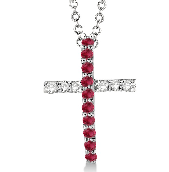 Ruby & Diamond Cross Pendant Necklace 14k White Gold (0.25ct)