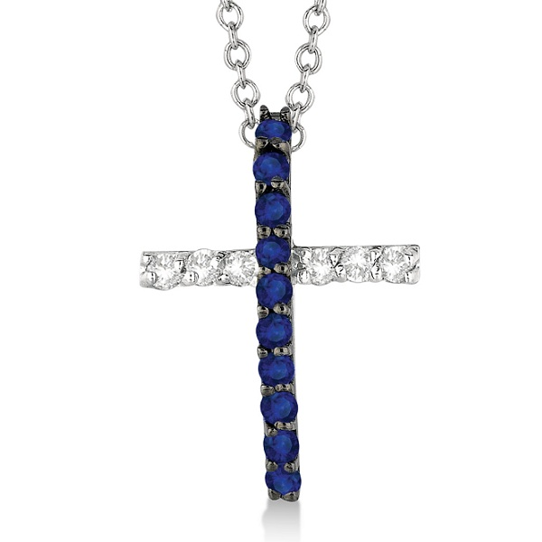 Blue Sapphire & Diamond Cross Pendant Necklace 14k White Gold (0.25ct)