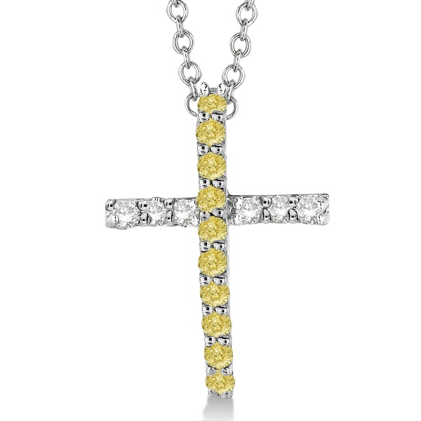 Yellow & White Diamond Cross Pendant Necklace 14k White Gold (0.25ct)