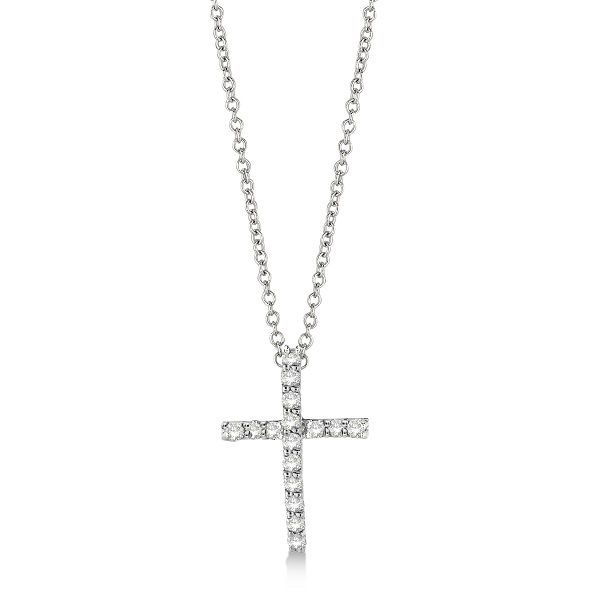 Diamond Cross Pendant Necklace in 14k White Gold (0.25ct)