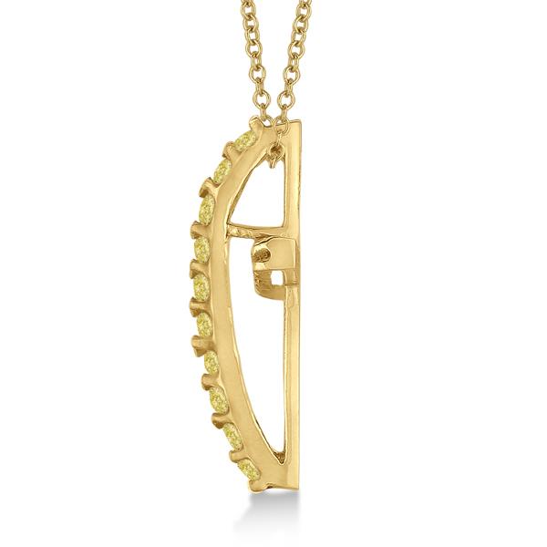 Yellow & White Diamond Cross Pendant Necklace 14k Yellow Gold (0.25ct)
