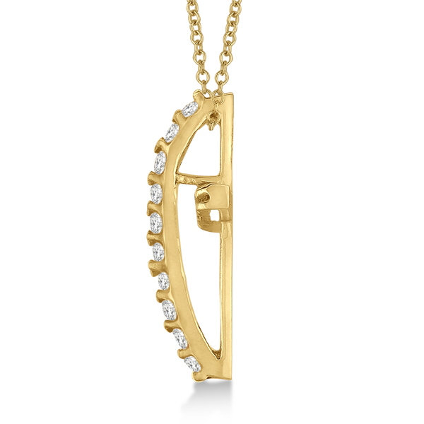 Diamond Cross Pendant Necklace in 14k Yellow Gold (0.25ct)