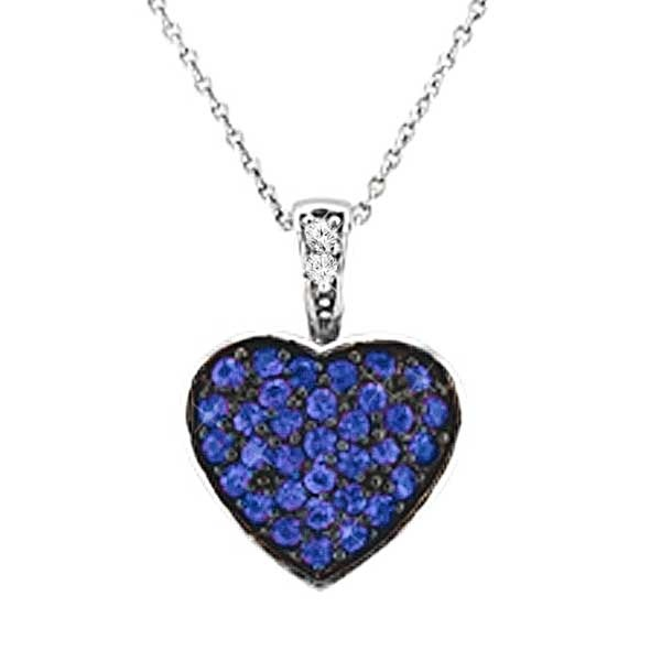 Diamond & Sapphire Puffed Heart Pendant Necklace 14k White Gold