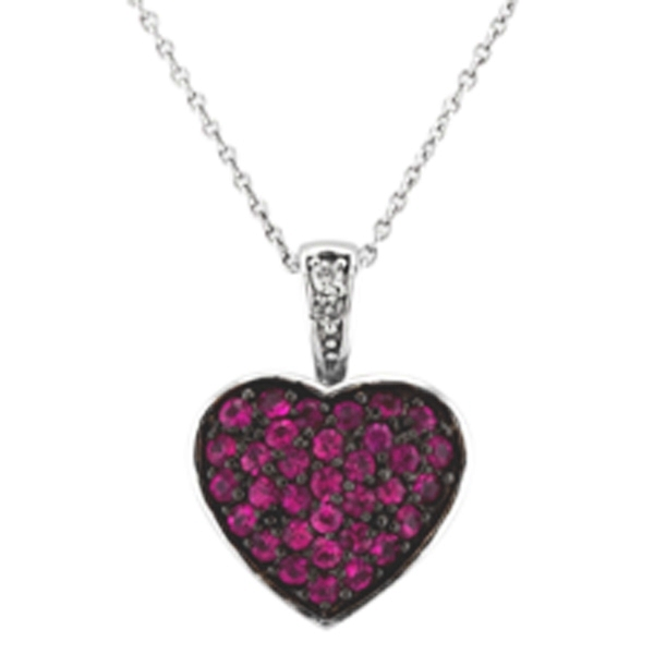 Diamond & Pink Sapphire Puffed Heart Pendant in 14k White Gold