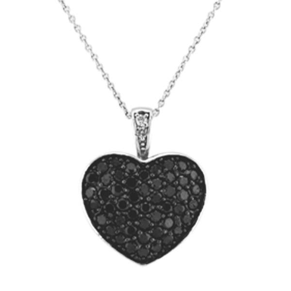 Black Diamond Puffed Heart Pendant in 14k White Gold (1.30ctw)