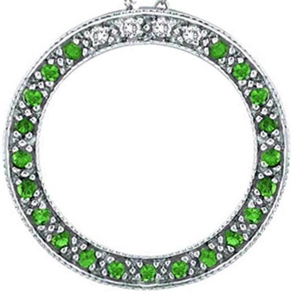 Diamond and Emerald Circle Pendant Necklace 14k White Gold (0.25ct)