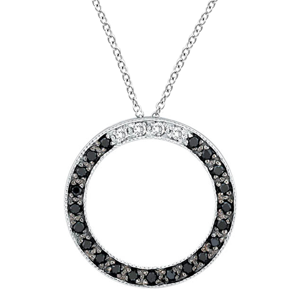 White & Black Diamond Circle Pendant 14k White Gold (0.25 ct)
