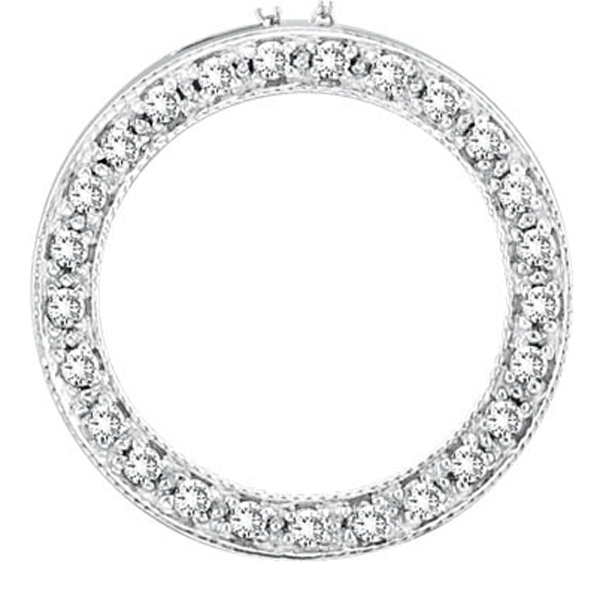 Diamond Circle Pendant Necklace 14k White Gold (0.25ct)