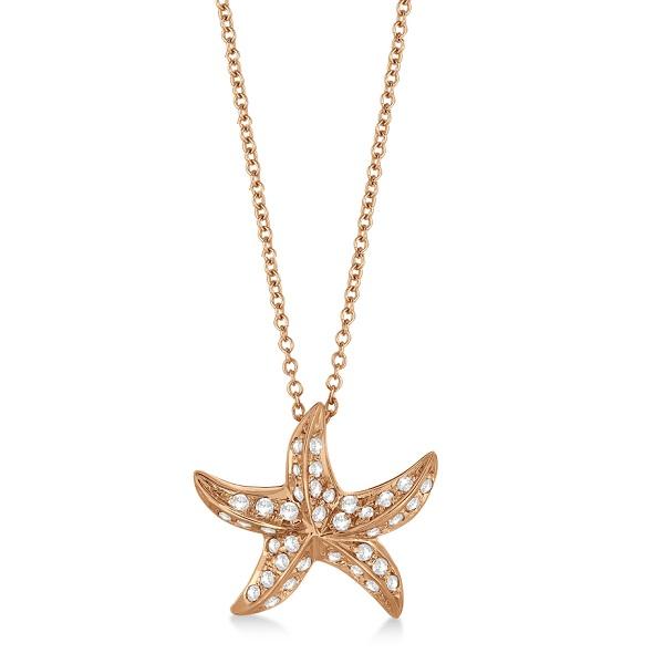 Starfish Shaped Diamond Pendant Necklace 14K Rose Gold (0.50ct)