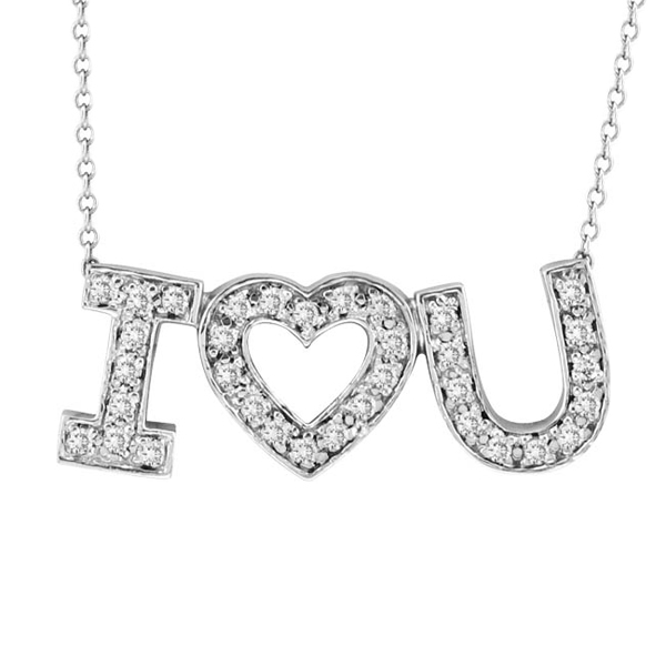 """I Love You"" Diamond Heart Pendant Necklace in 14k White Gold (1/2 ct)"