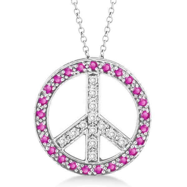 Diamond & Pink Sapphire Peace Pendant Necklace 14k White Gold 0.92ct
