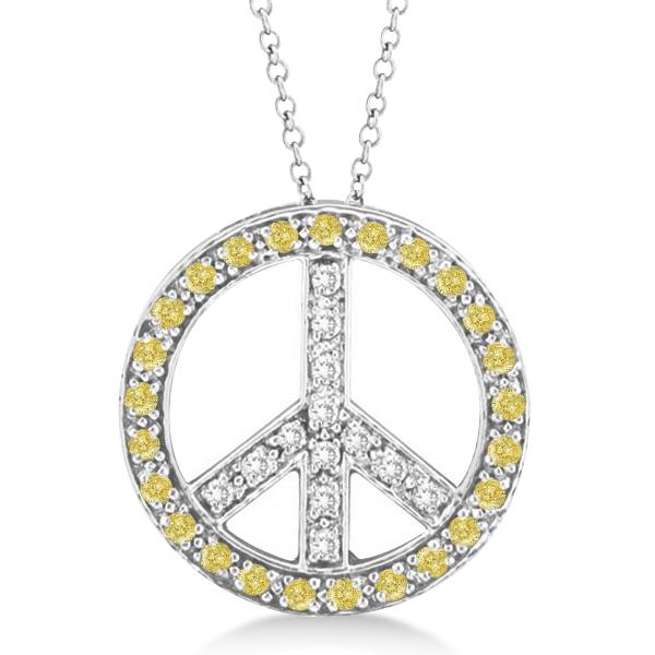 Yellow diamond peace sign pendant necklace 14k white gold 050ct ip332 yellow diamond peace sign pendant necklace 14k white gold 050ct aloadofball Images