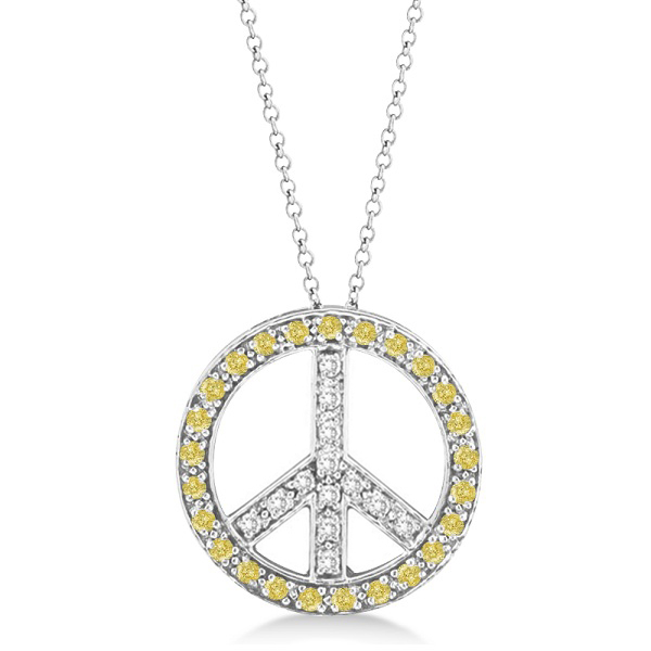 Yellow Diamond Peace Sign Pendant Necklace 14k White Gold 0.50ct