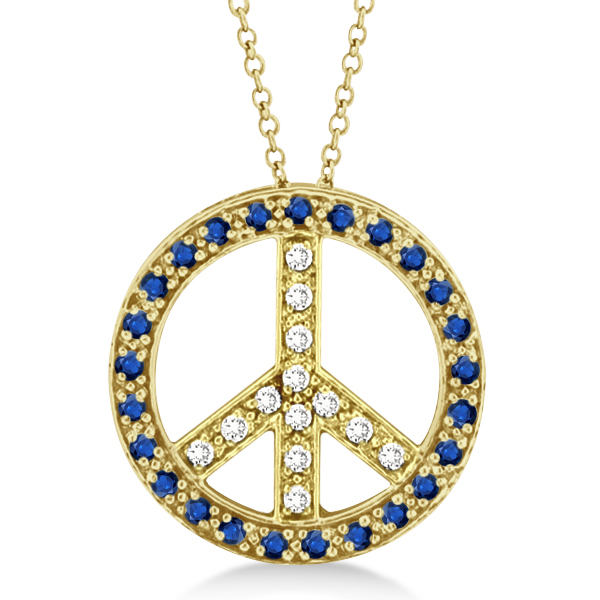 Diamond & Blue Sapphire Peace Pendant Necklace 14k Yellow Gold 0.92ct