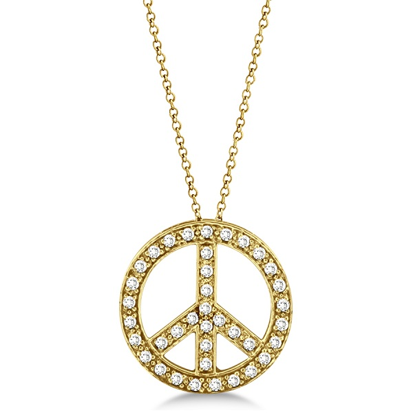 Diamond Peace Sign Pendant Necklace 14k Yellow Gold (0.50ct)