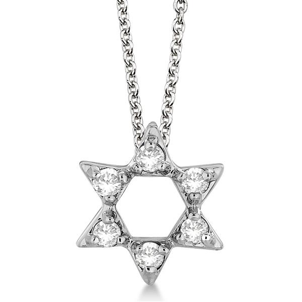 Jewish Star of David Diamond Pendant Necklace 14k White Gold (0.20ct)