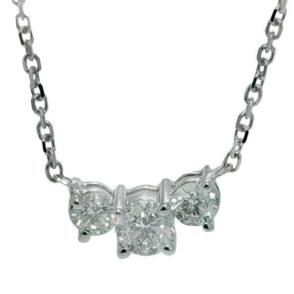 Three-Stone Diamond Pendant in 14k White Gold (1.00 ctw)