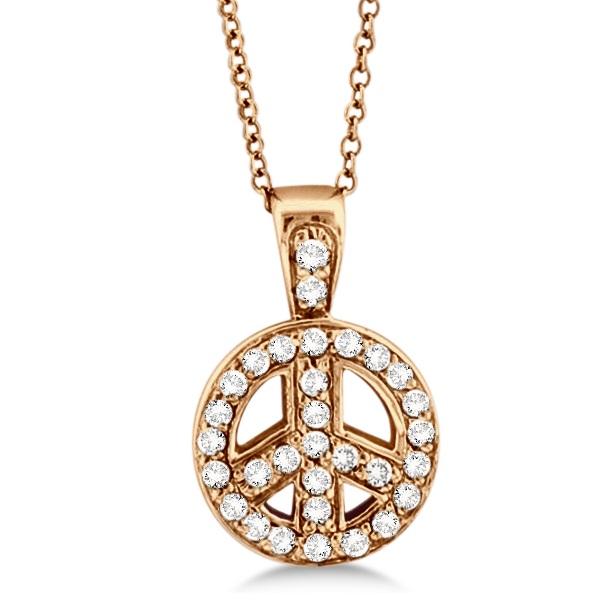 Diamond Peace Sign Pendant Necklace 14k Rose Gold (0.28ct)