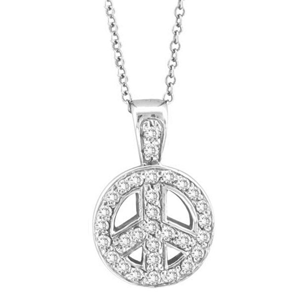 Diamond Peace Sign Pendant Necklace 14k White Gold (0.28ct)