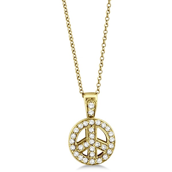 Diamond Peace Sign Pendant Necklace 14k Yellow Gold (0.28ct)