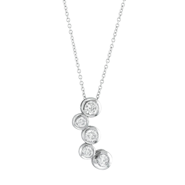 Bezel Set Five-Stone Diamond Pendant in 14k White Gold (0.75 ctw)