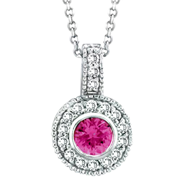 Designer Pink Sapphire & Diamond Pendant in 14K White Gold (0.67 ctw)