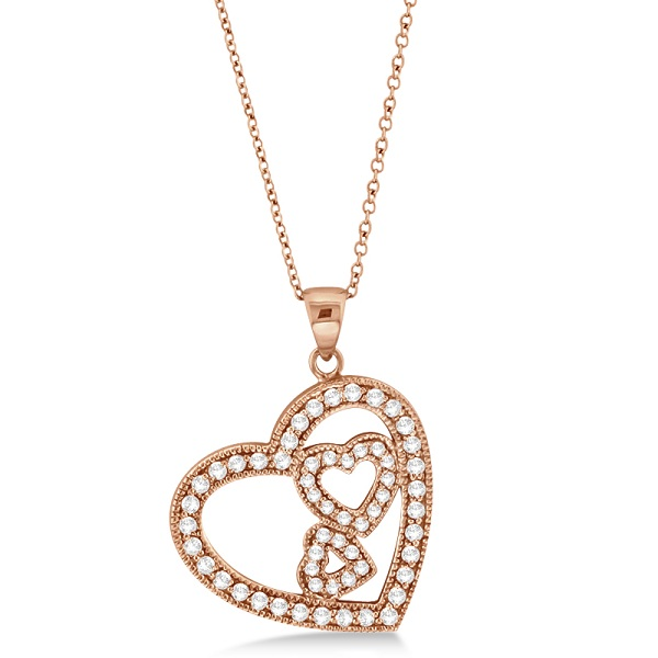 Triple Heart Shaped Diamond Pendant Necklace 14k Rose Gold (0.58ct)