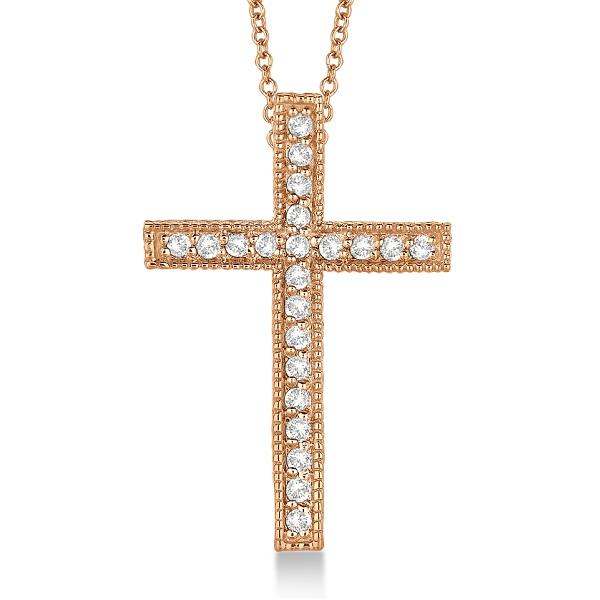 Diamond Cross Pendant Necklace Milgrain Edged 14k Rose Gold (0.33ct)