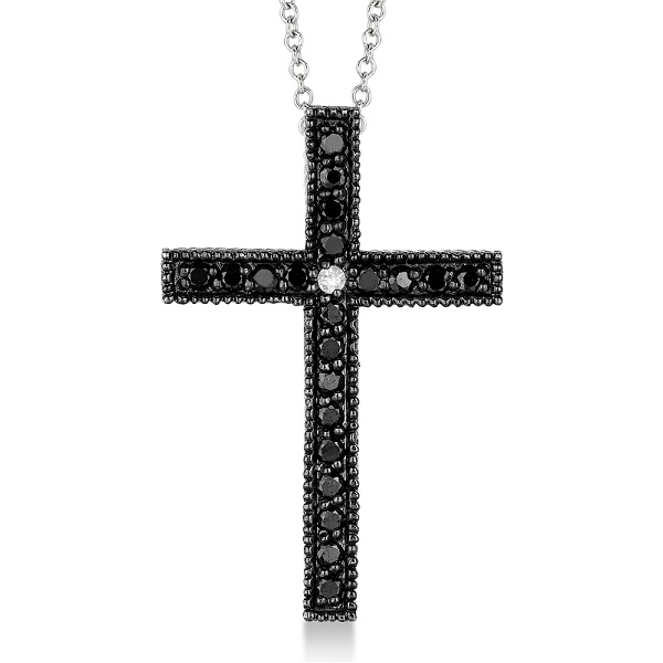 Black & White Diamond Cross Pendant Necklace 14k White Gold (0.33ct)