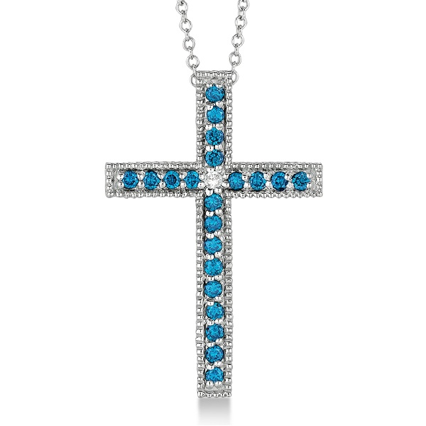Blue & White Diamond Cross Pendant Necklace 14k White Gold (0.33ct)