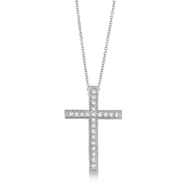 Diamond Cross Pendant Necklace Milgrain Edged 14k White Gold (0.33ct)
