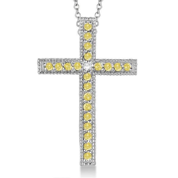 Yellow & White Diamond Cross Pendant Necklace 14k White Gold (0.33ct)