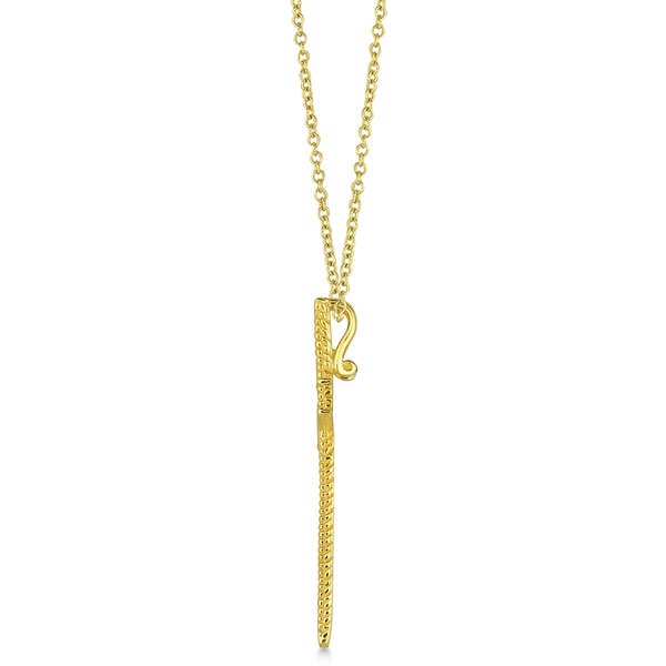 Diamond Cross Pendant Necklace Milgrain Edged 14k Yellow Gold (0.33ct)