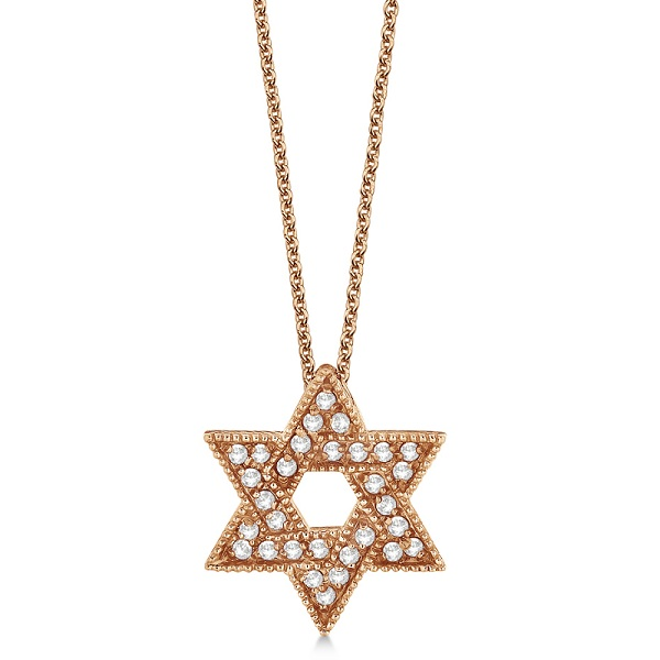 Jewish Star of David Diamond Pendant Necklace 14k Rose Gold (0.35ct)
