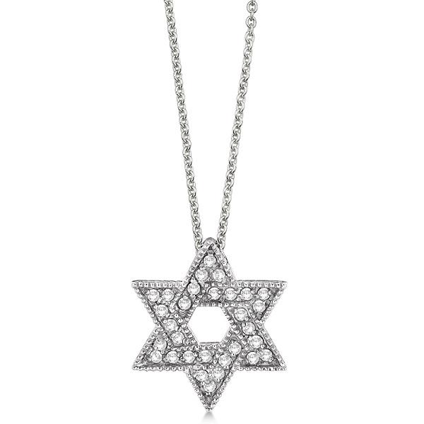 Jewish Star of David Diamond Pendant Necklace 14k White Gold (0.35ct)