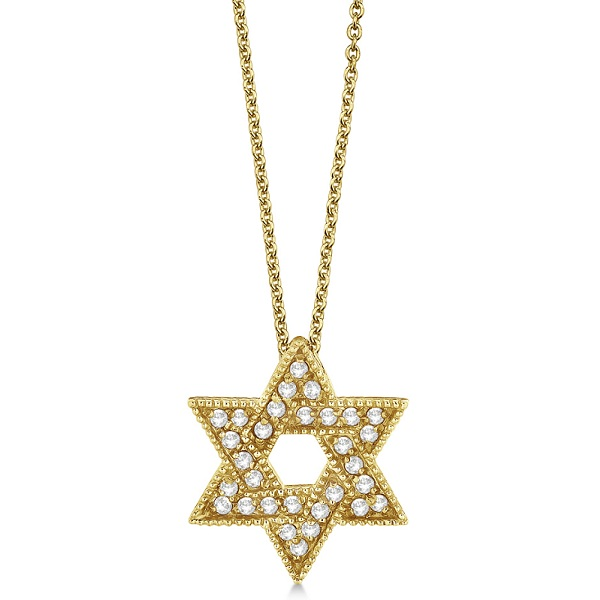 Jewish Star of David Diamond Pendant Necklace 14k Yellow Gold (0.35ct)