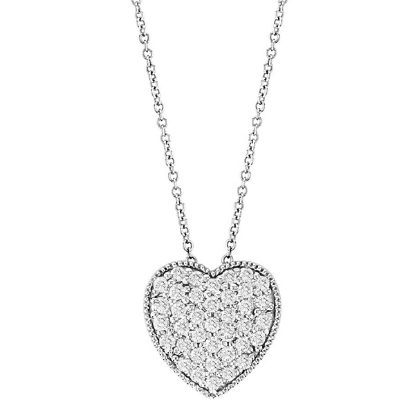 Heart Shaped Diamond Pendant Necklace 14k White Gold (0.75ct)