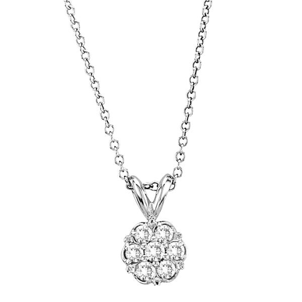 Designer Diamond Flower Pendant in 14k White Gold (0.27 ctw)
