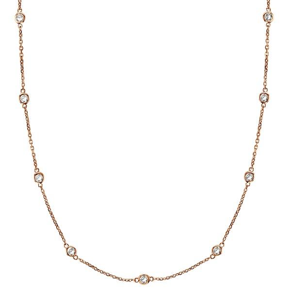 Moissanite Station Necklace Bezel-Set in 14k Rose Gold (2.00 ctw)