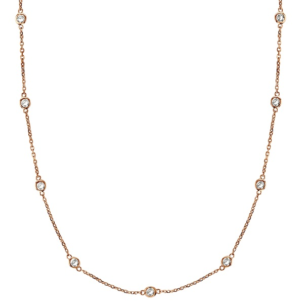 Moissanite Station Necklace Bezel-Set in 14k Rose Gold (0.75 ctw)