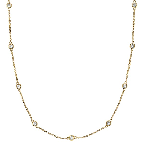 Moissanite Station Necklace Bezel-Set in 14k Yellow Gold (5.00 ctw)