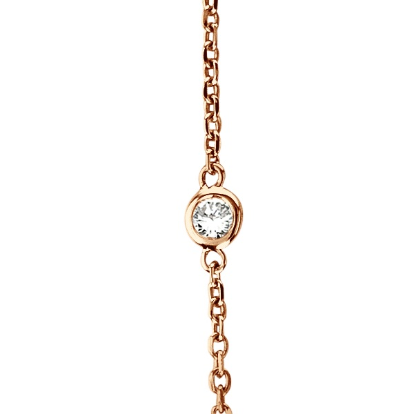 36 inch Long Diamond Station Necklace Strand 14k Rose Gold (0.66ct)