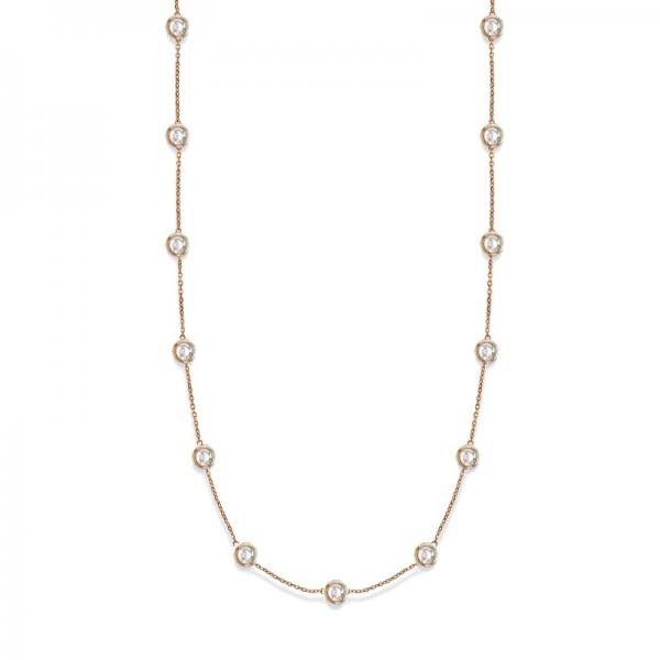 36 Inch Long Diamond Station Necklace Strand 14k Rose Gold (8.00ct)