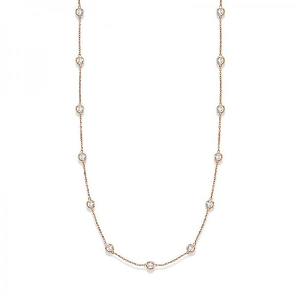 36 Inch Long Diamond Station Necklace Strand 14k Rose Gold (9.00ct)