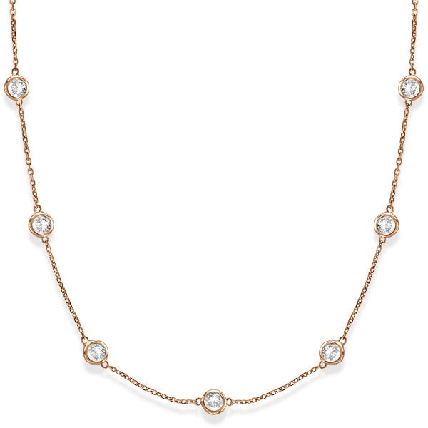 Diamond Station Necklace Bezel-Set in 14k Rose Gold (5.00ct)