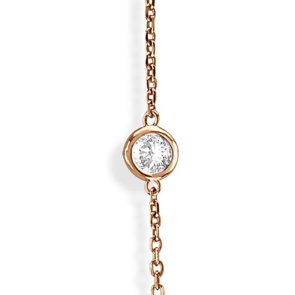 36 inch Long Diamond Station Necklace Strand 14k Rose Gold (3.00ct)